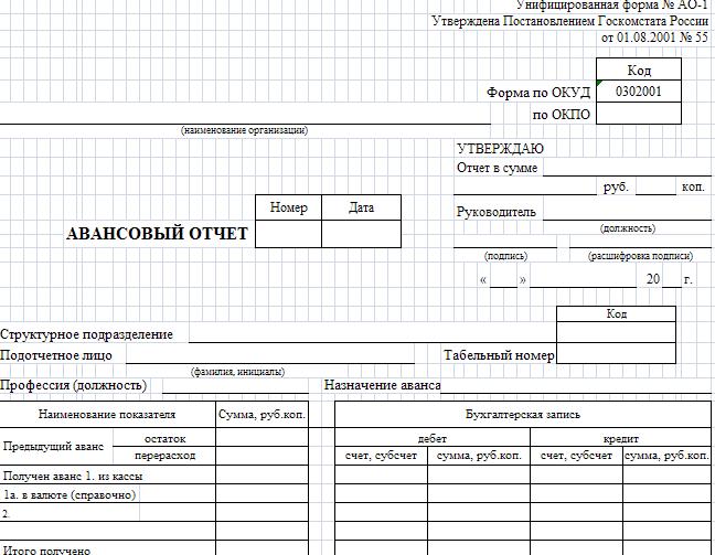 Авансовый отчет: форма АО-1