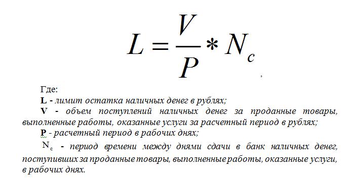 Формула расчета лимита кассы