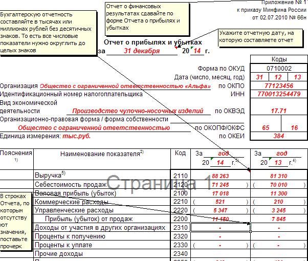 отчет о финансовых результатах образец
