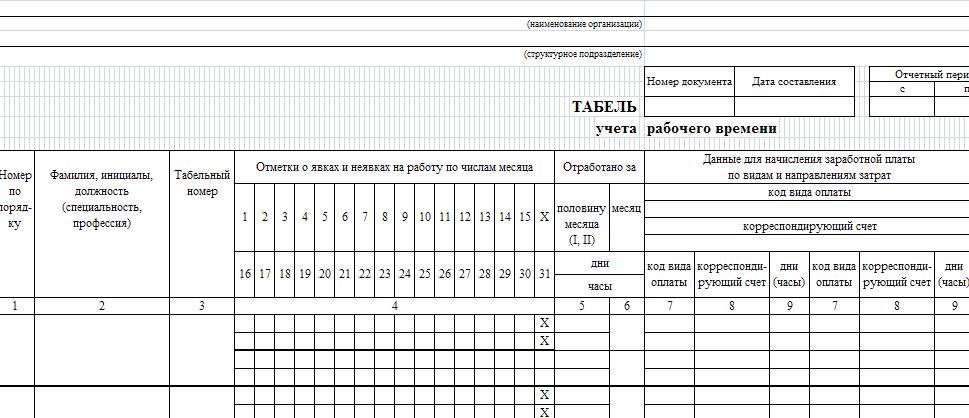 Форма табеля учета рабочего времени т-13